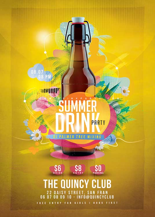 N2N44 Graphic Design | Summer drink party Flyer Template