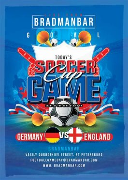 World cup soccer game flyer template