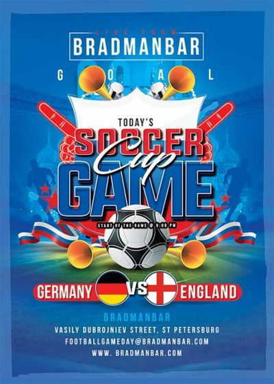 World cup soccer game flyer template download