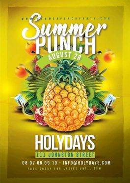 Summer punch party flyer template