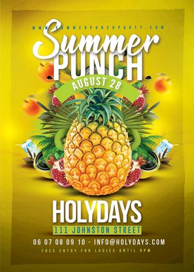 Summer punch party flyer template download