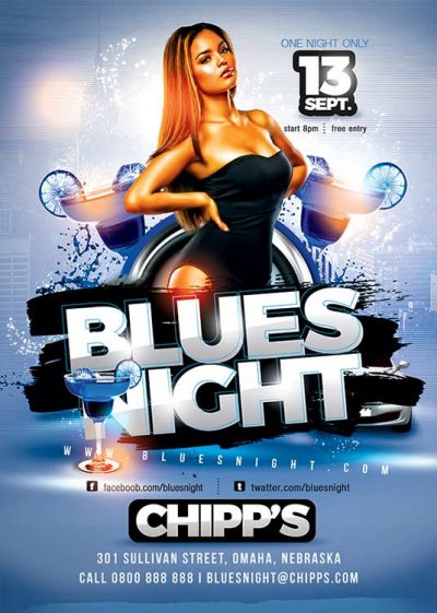 Blues Theme Night Flyer Template download