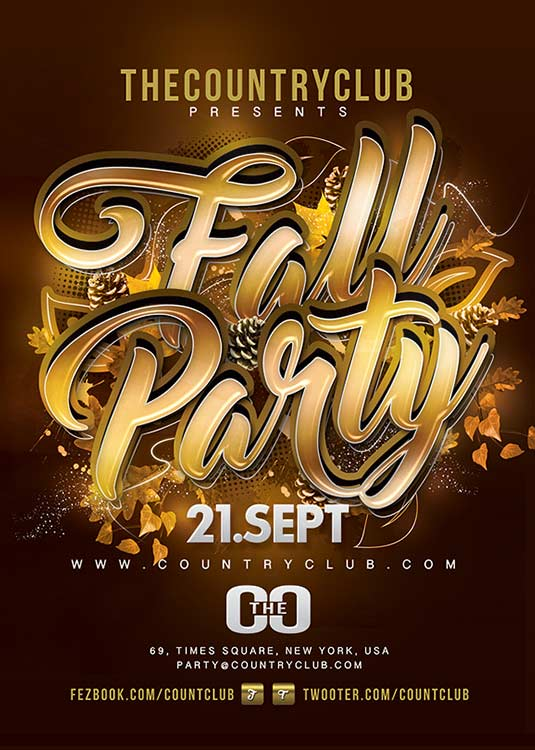 Fall Party Autumn Flyer Template download