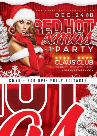 Red Hot Xmas Party Flyer Template download