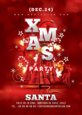 Abstract Red Xmas Flyer Template