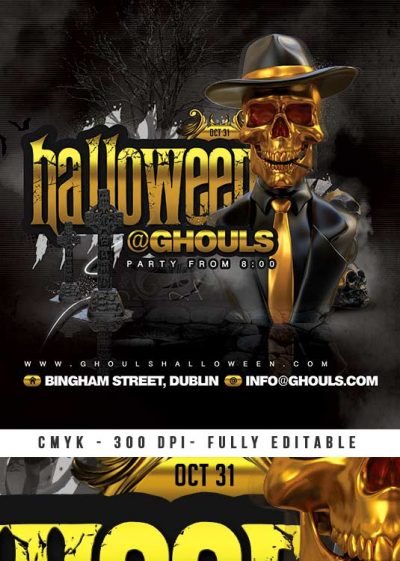 Scary Golden Halloween Party Flyer download