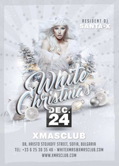 White Christmas Party Flyer Template download