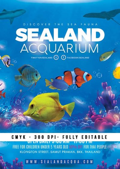 Aquarium Sea Flyer Template download