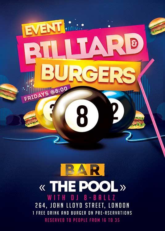 N2n44 graphic design billiard burger pool flyer template for Pool design templates