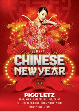 Chinese New Year club flyer template