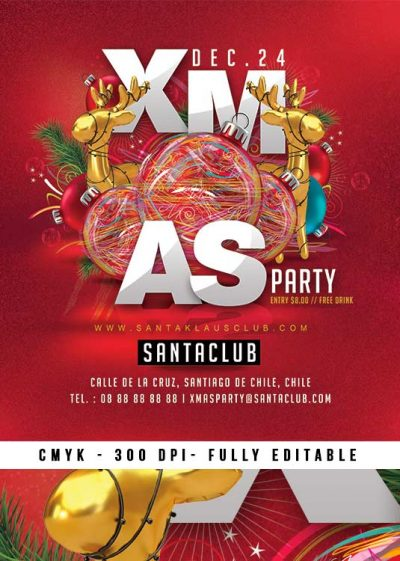 Fun Red Christmas Party Template download