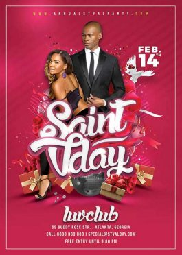 Saint Valentine Day Party Flyer Template