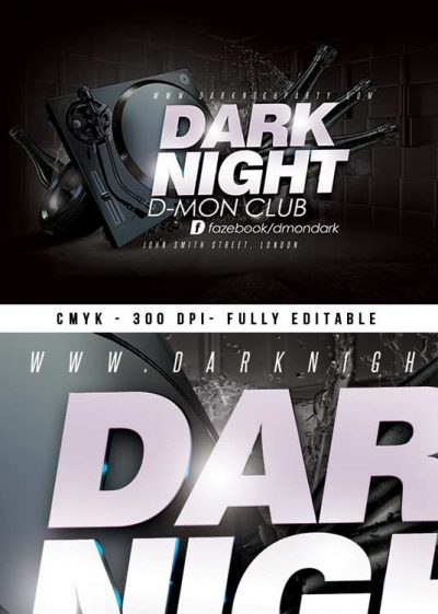 Black Night Party DJ Flyer Template download