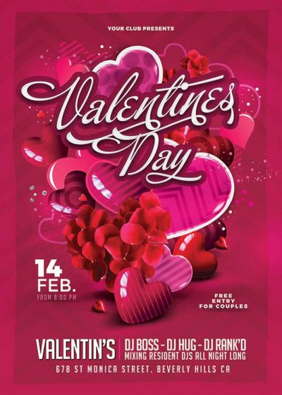 St Valentine Day Club Flyer Template download