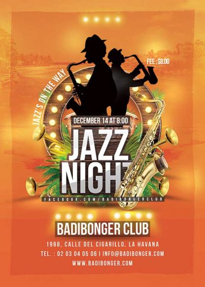 Tropical Jazz Music Nightclub Flyer Template download