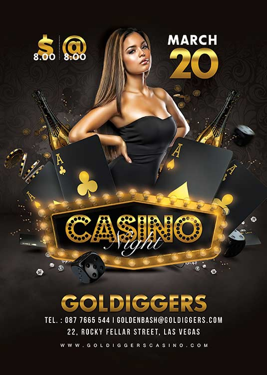 Classy Casino Night Party Flyer Template download