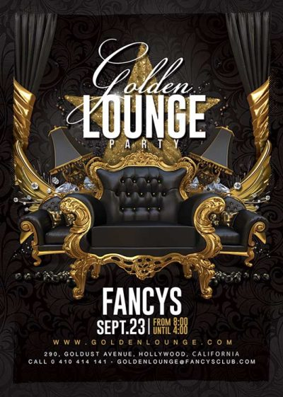 Golden Lounge Party Club Flyer Template
