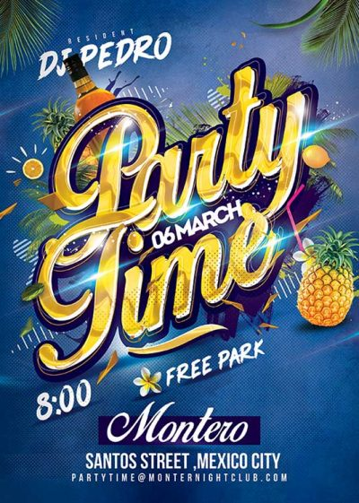 Spring Summer Party Time Flyer Template download