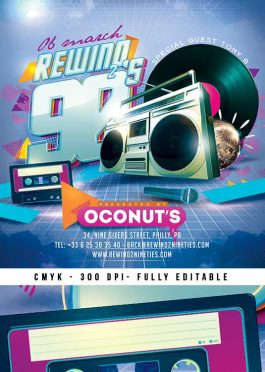 Squared Back To 90s Retro Flyer Template