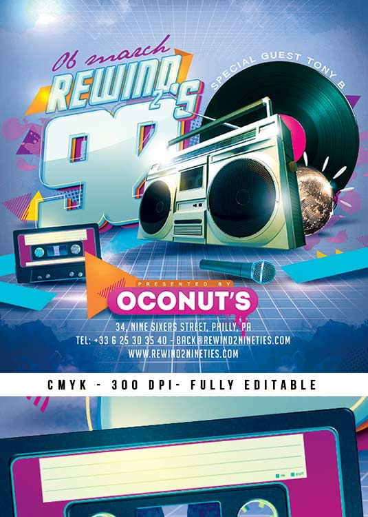 Squared Back To 90s Retro Flyer Template download