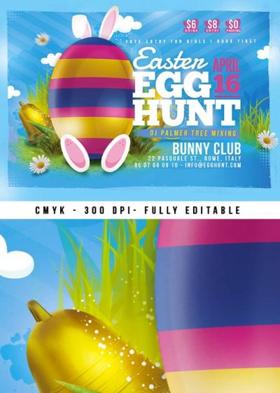 Cute Rabbit Easter Egg Hunt Flyer Template download
