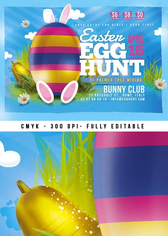 Cute Rabbit Easter Egg Hunt Flyer Template download
