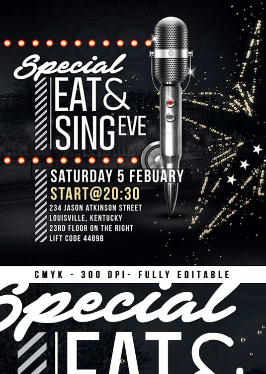 Eat And Sing Diner Eve Club Flyer Template download