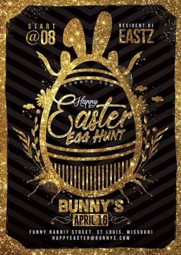 Happy Easter Egg Hunt Flyer Typo Template