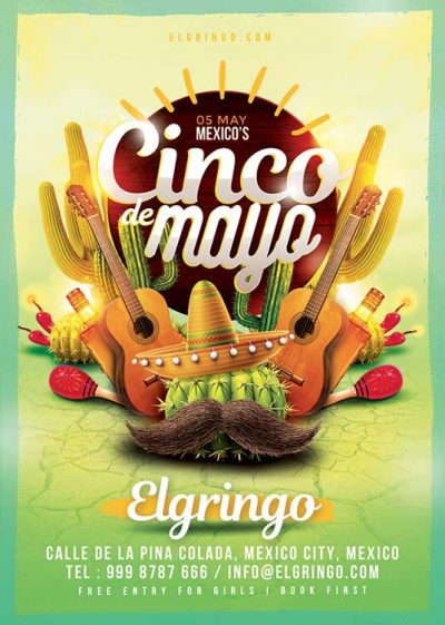 Mexico Cinco De Mayo Celebration Flyer Template download
