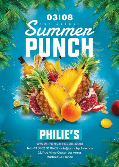 Summer punch Cocktail party flyer template download