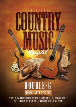 Usa Country Music Western Night Flyer Template