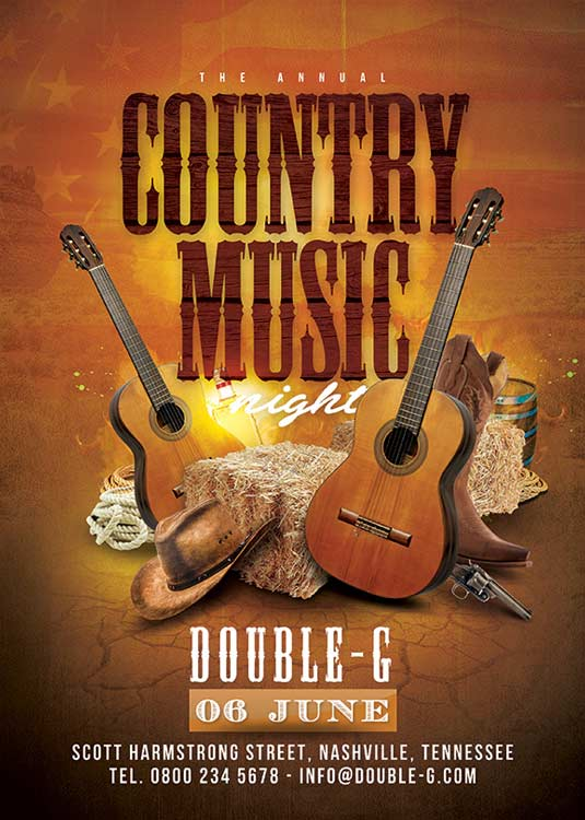 Usa Country Music Western Night Flyer Template download