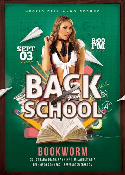 Back 2 School College University Party Flyer Template download
