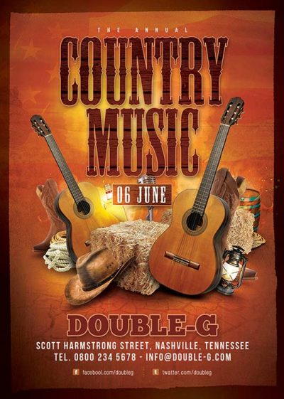 Country Music Night Usa Western Flyer Template download