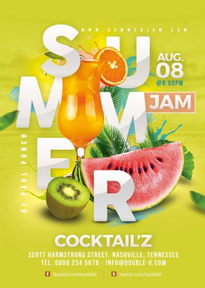 Seasonal Fruity Summer Punch Flyer Template download