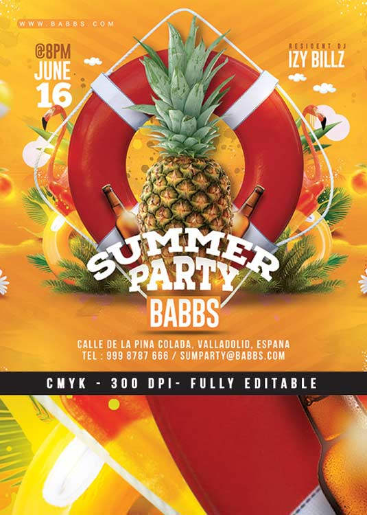 Summer Time Tropical Party Flyer Template download