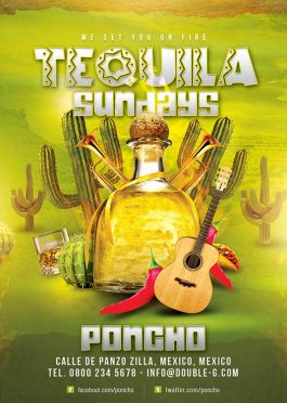 Tequila Sundays Party Drink Night Flyer Template