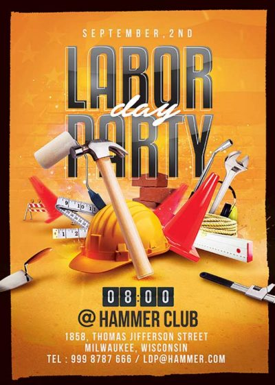 Workers Labor Day Celebration Party Flyer Template download