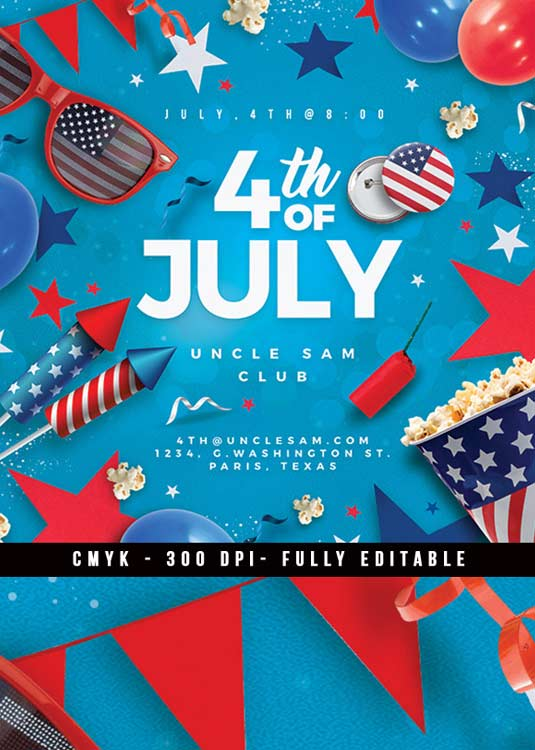 4th Of July Usa Independence Day Flyer Template download