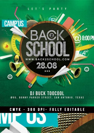 Squared Back To School University Party Flyer Template download