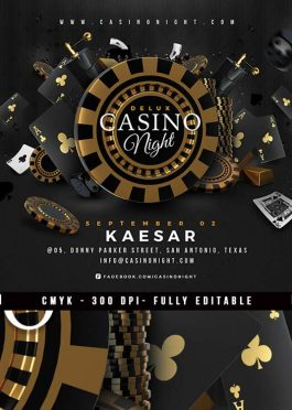 Squared Casino Night Deluxe Gambling Flyer Template