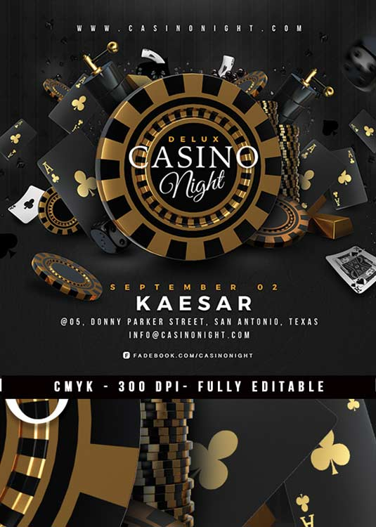 Squared Casino Night Deluxe Gambling Flyer Template download