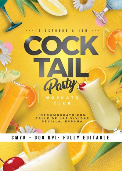 Summer Seasonal Cocktail Party Flyer Template download