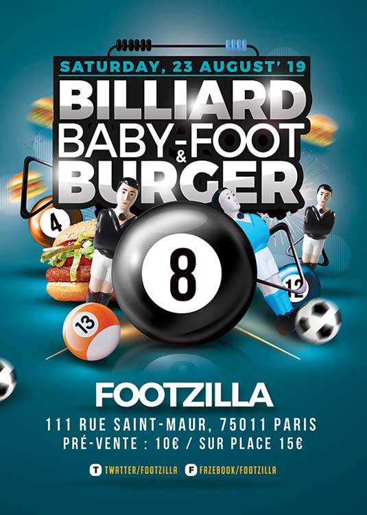 Billiard Babyfoot Burger Night Out Flyer Template download