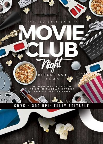 Movie Club Night Themed Party Flyer Template download