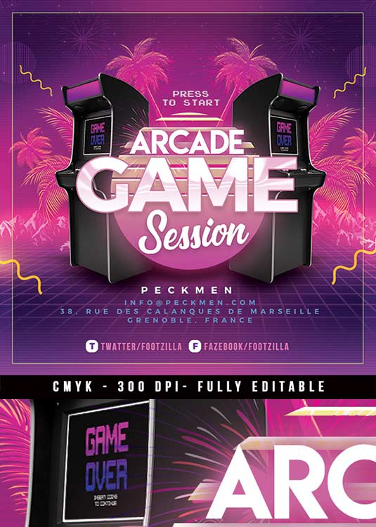 Retro Video Game Arcade Night Flyer Template download