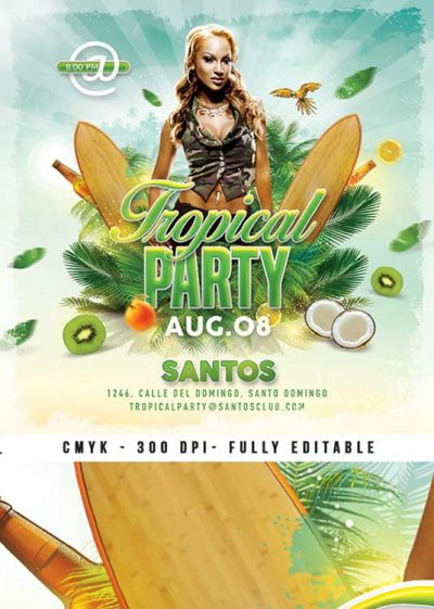 Exotic Summer Tropical Party Flyer Template download