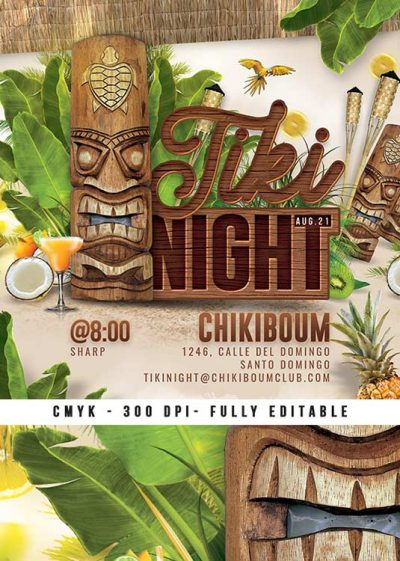 Exotic Tiki Themed Night Club Party Flyer Template download