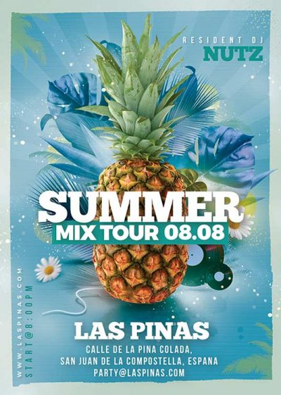 Tropical Summer Mix Tour Party Flyer Template download