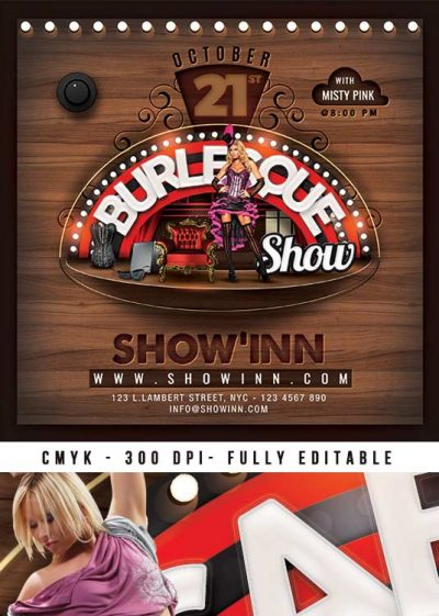 Burlesque Club Or Cabaret Party Show Flyer Template download